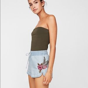 Express floral embroidered denim utility shorts